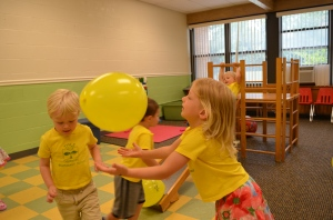 Balloons!! This activity is a fun way to increase hand-eye coordination skills!
